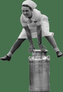 Jumping a milk churn